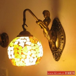 美人鱼玻璃壁灯