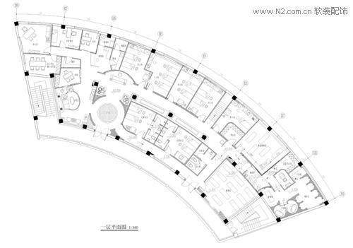 圆形欧式会所建筑平面图