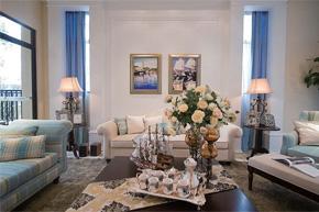 来自纯蓝的清爽 美式风格样板房软装饰