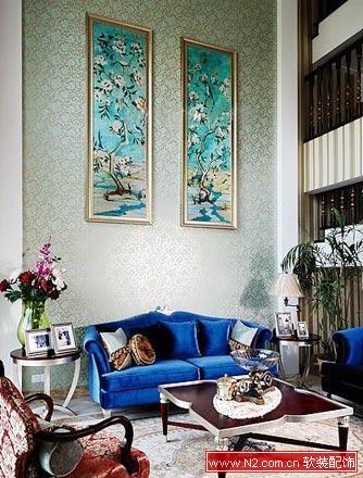 欧式客厅挑高背景墙壁画