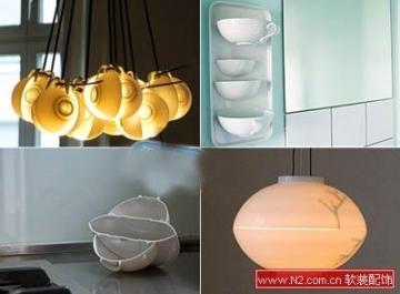 软装饰中用碗做成的玫瑰灯