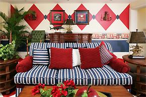 鲜艳明快色彩装饰美式乡村风格别墅
