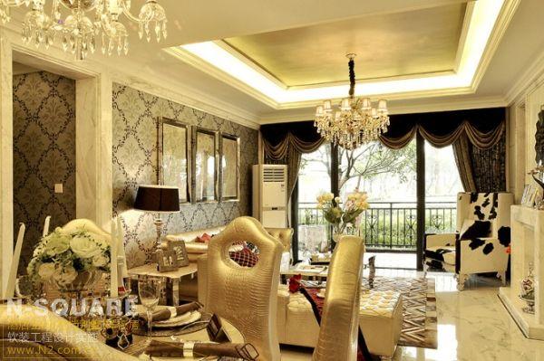 大气奢华香槟色_现代欧式样板房软装设计