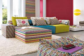 条纹布艺绚丽装饰法:彩虹色彩打造视觉之家