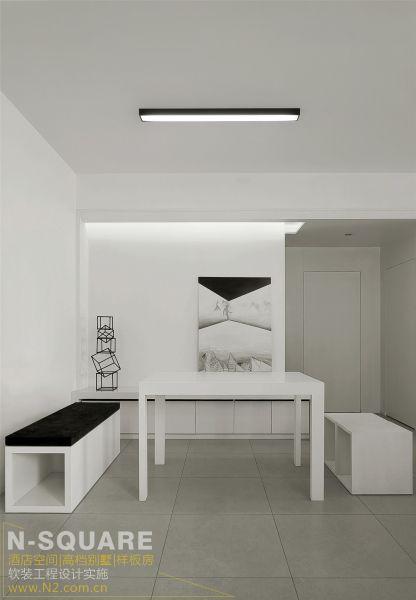 样板房设计以极简的线条装饰与同种色系的软装配饰