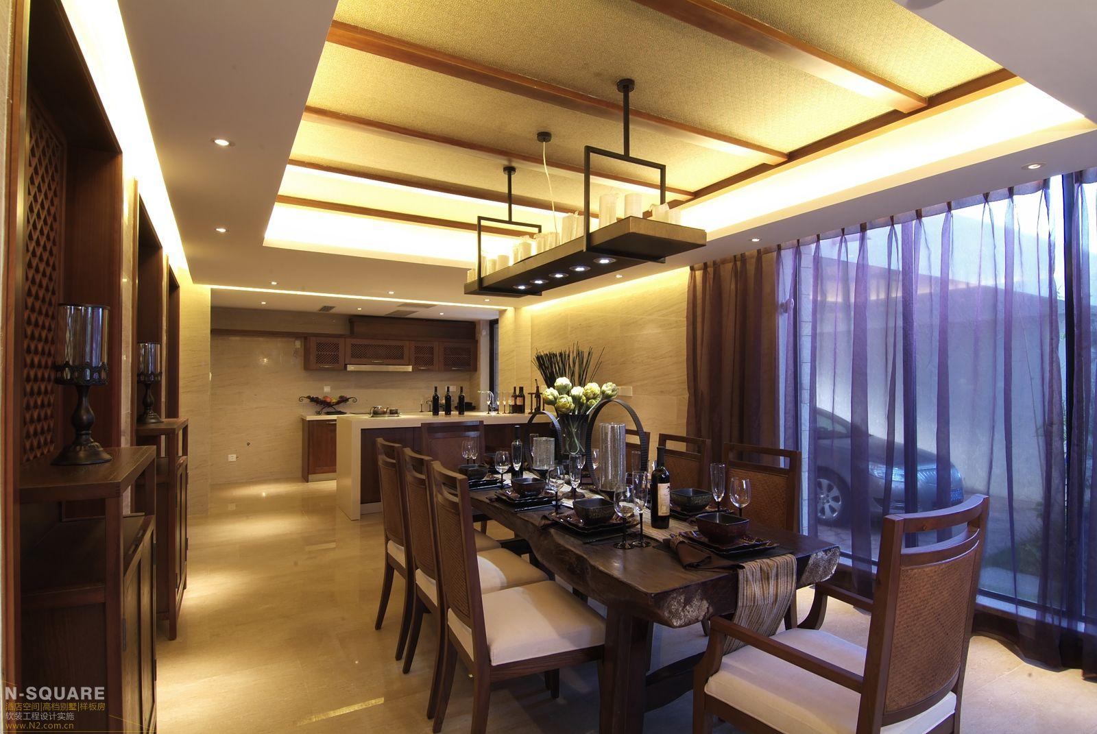 简洁loft风中式餐.图片