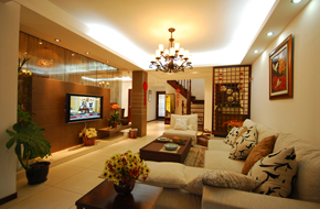 宁波350平米的现代中式风格样板房软装